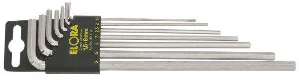 Winkelschraubendreher-Satz, lang, 9-teilig 1,5-10 mm, mit SB-Halter, ELORA-159S-9L