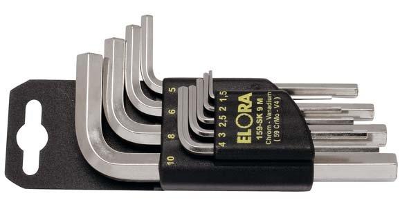 Winkelschraubendreher-Satz, 9-teilig 1,5-10 mm, mit SB-Halter, ELORA-159SK-9M