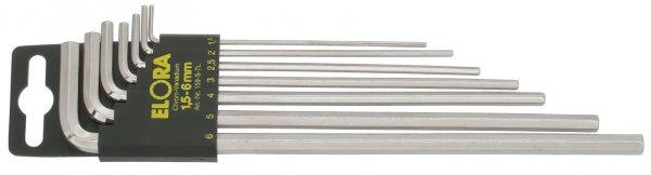Winkelschraubendreher-Satz, lang, 7-teilig 1,5-6 mm, mit SB-Halter, ELORA-159S-7L